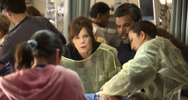 CODE BLACK, based on the award-winning documentary by Ryan McGarry, is CBS's heart-pounding new medical drama that takes place in the busiest, most notorious ER in the nation where the staggering influx of patients can outweigh the limited resources available to the extraordinary doctors and nurses whose job is to treat them all -- creating a condition known as Code Black.  At the heart of the ER's controlled chaos is Residency Director Dr. Leanne Rorish (Marcia Gay Harden, center), renowned for successfully performing high risk procedures in Center Stage, the trauma area reserved for the most critical cases.  Her confidante, Jesse Sallander (Luis Guzman, right), is an amiable seen-it-all senior nurse who manages the residents. To air Wednesdays 10:00-11:00 PM, ET/PT, Fall 2015. Photo: Neil Jacobs/CBS �©2015 CBS Broadcasting, Inc. All Rights Reserved